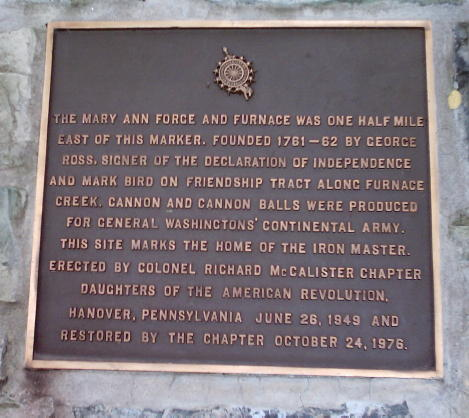 Mary Ann Furnace Plaque
